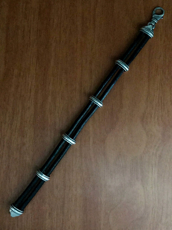 Sterling Silver and 4 mm Leather Handmade Bracelet by Bowman Originals, Call or text: 941-302-9594.