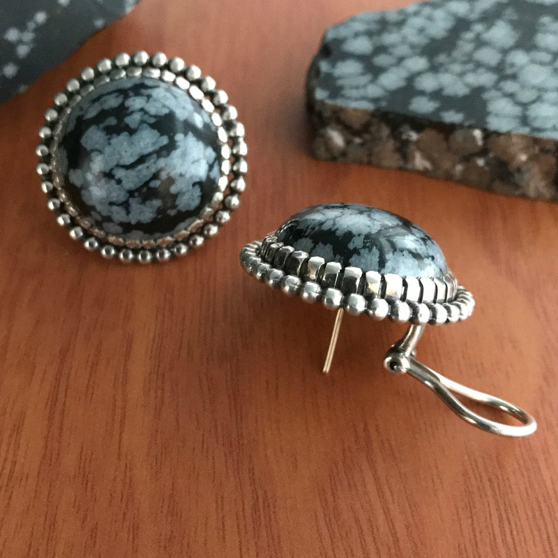 Silver and Obsidian Earrings handmade by Bowman Originals, Sarasota, 941-302-9594.