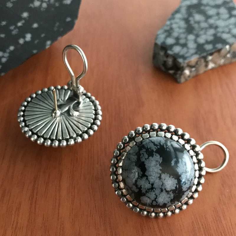 Handmade Sterling Silver Earrings with hand cut Obsidian cabachons by Bowman Originals, Sarasota, 941-302-9594.