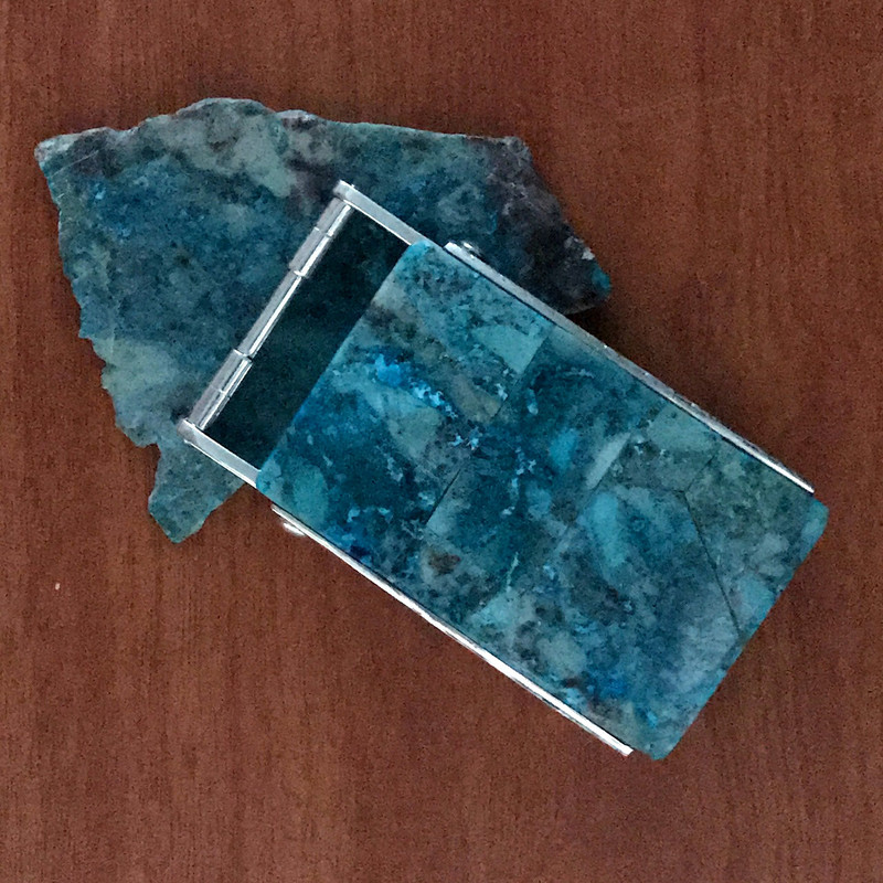 Handmade Belt Buckle, Silver, Chrysocolla in Quartz, 1.5 inch | Bowman Originals, Sarasota, 941-302-9594