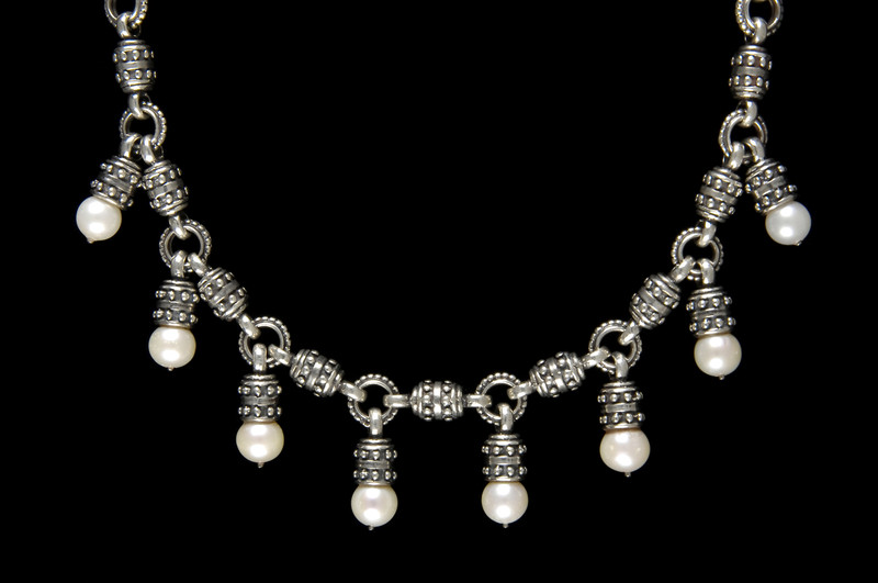 Handmade Sterling Silver and Pearl Necklace by Bowman Originals, Sarasota, 941-302-9594