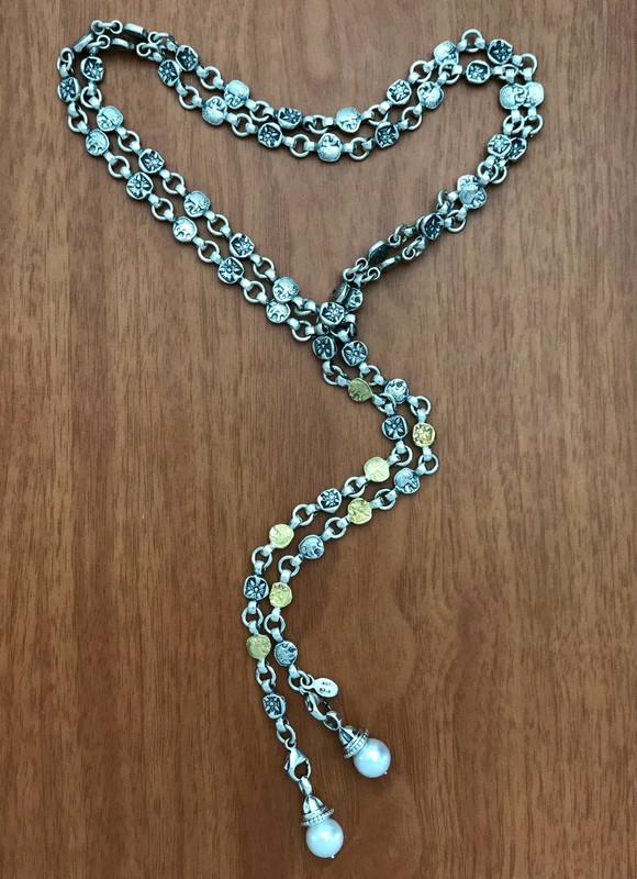 Lion Belt Necklace handmade featuring detachable Pearls by Bowman Originals. Sarasota, 941-302-9594
