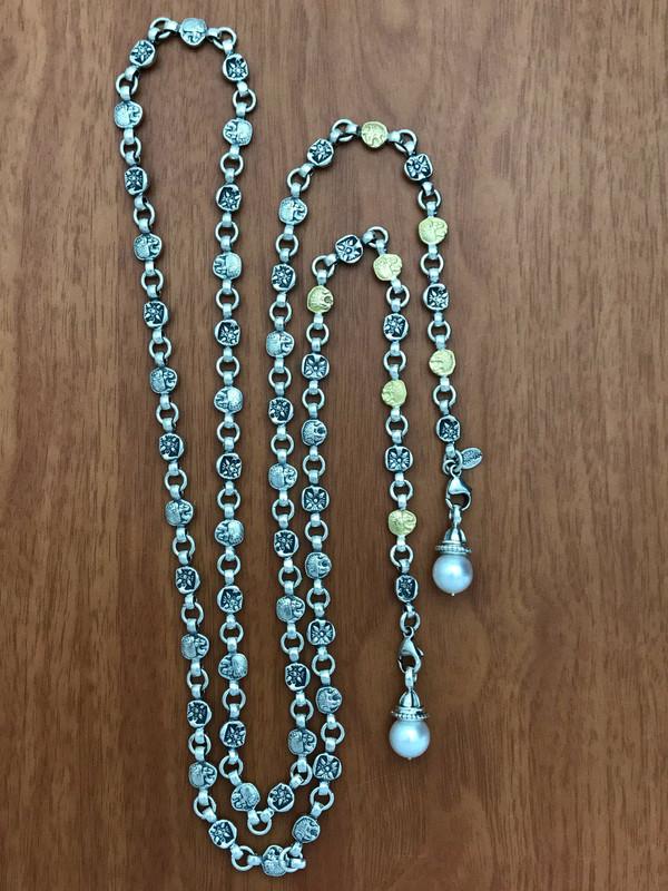Lion Belt Necklace, Sterling Silver, 18 k Gold and detachable Pearls by Bowman Originals, Sarasota, 941-302-9594.