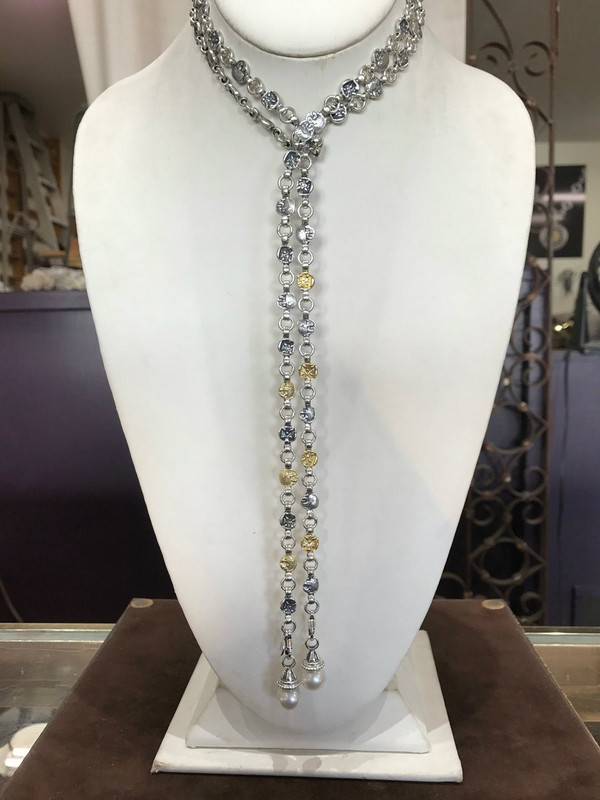 Lion Belt Necklace, 44 inches, Sterling Silver  and 18 k Gold handmade by Bowman Originals, Sarasota, 941-302-9594