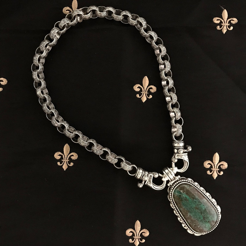 Sterling Silver Necklace and removable Chrysocolla pendant by Bowman Originals, Sarasota, 941-302-9594