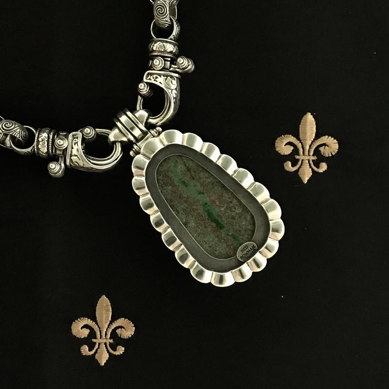 Reverse side Chrysocolla Pendant and Sterling Silver engraved handmade Necklace, Bowman Originals, Sarasota, 941-302-9594
