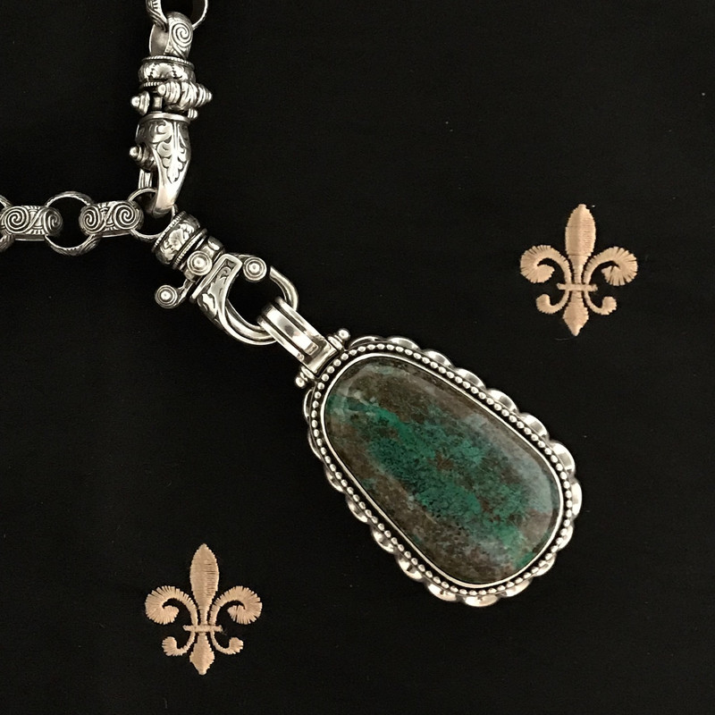 Chrysocolla and Sterling Silver handmade engraved necklace by Bowman Originals, Sarasota, 941-302-9594