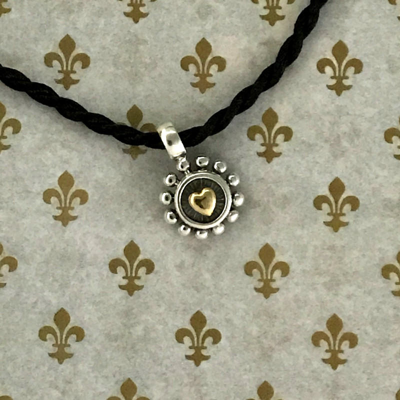 Handmade Sterling Silver and 18 K Gold Heart Pendant on silk cord by Bowman Originals, Sarasota, 941-302-9594