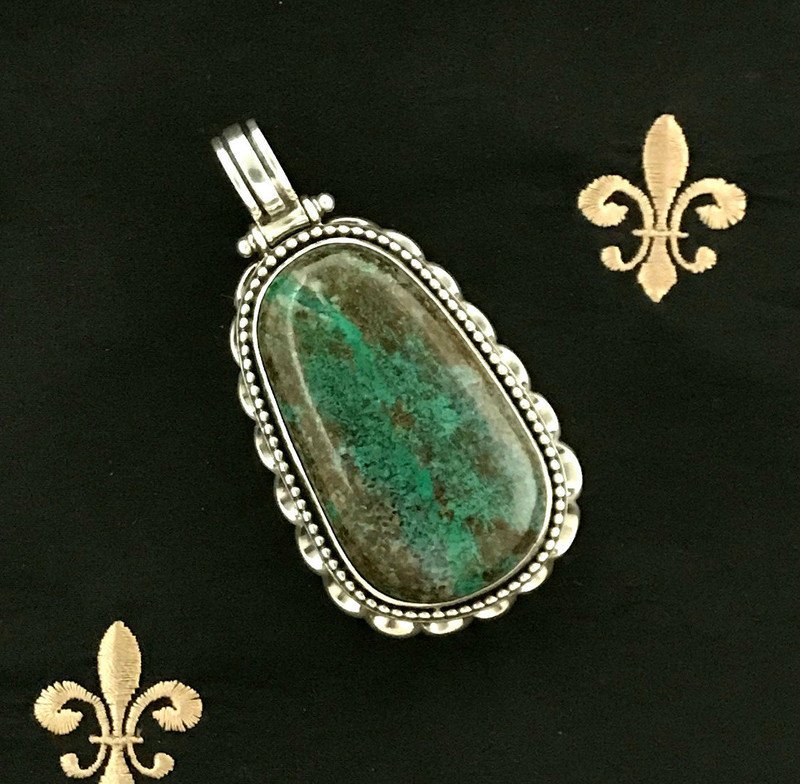 Large Sterling Silver  and Chrysocolla Pendant handmade and hand cut by Bowman Originals, Sarasota, 941-302-9594
