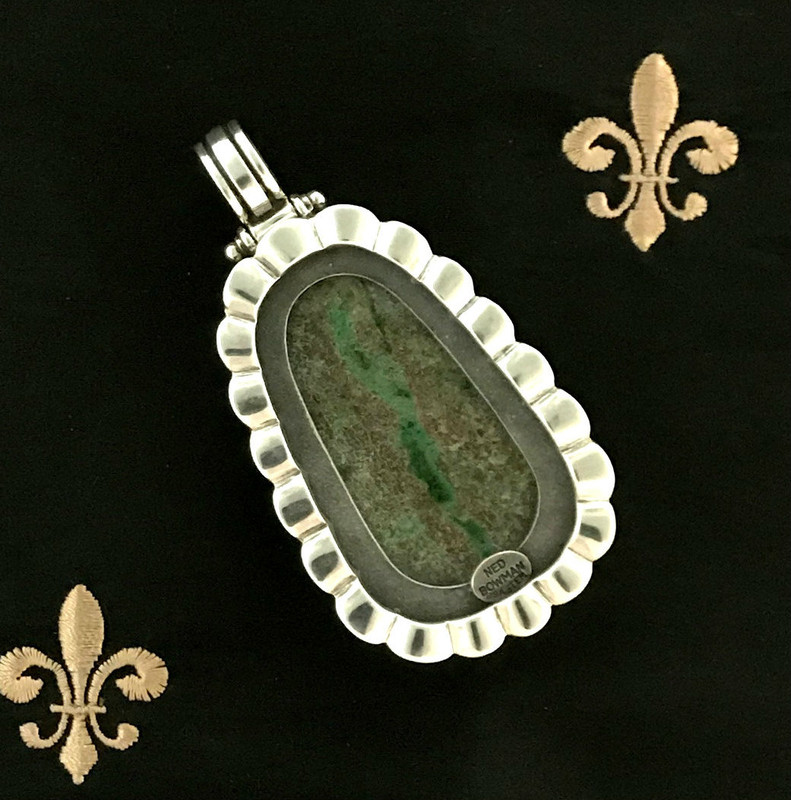 Backside, Sterling Silver, Chrysocolla scalloped pendant handmade by Bowman Originals, Sarasota, 941-302-9594