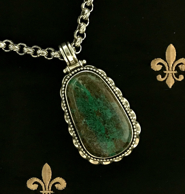 Large scallop handmade Sterling Silver pendant with Chrysocolla handmade and hand cut by Bowman Originals, Sarasota, 941-302-9594