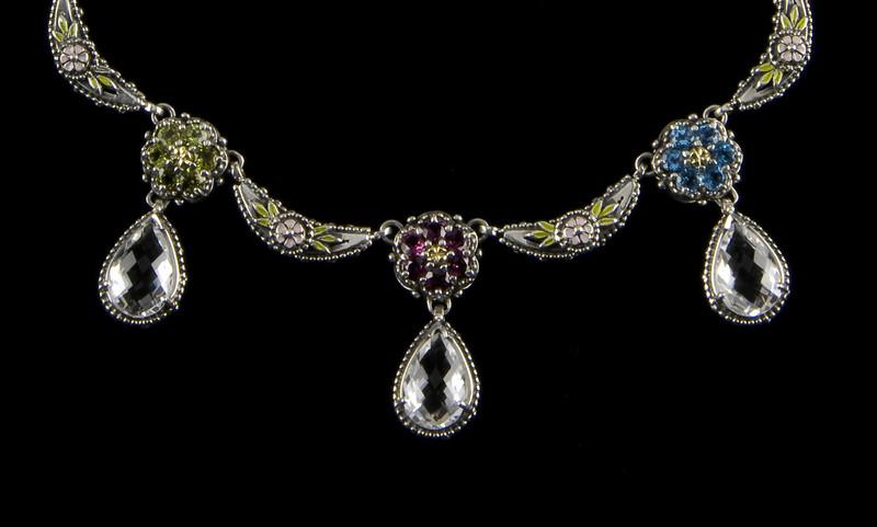 Silver, Gold, Enamel and Gemstone necklace handmade by Bowman Originals, Sarasota, 941-302-9594.