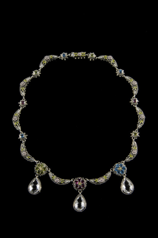 Handmade Silver, Gold, Enamel, Blue Topaz, Rhodolite Garnet, Peridot, White Topaz Briolette Necklace by Bowman Originals, Sarasota, 941-302-9594.