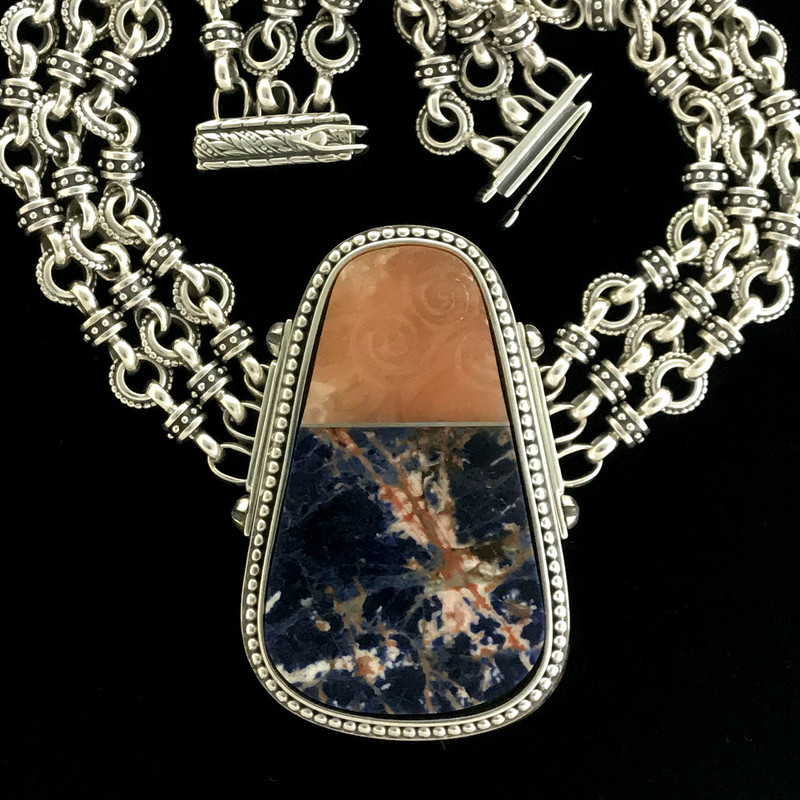 Handmade Sterling Silver, Sodalite and carved Alabaster Necklace by Bowman Originals, Sarasota, 941-302-9594.