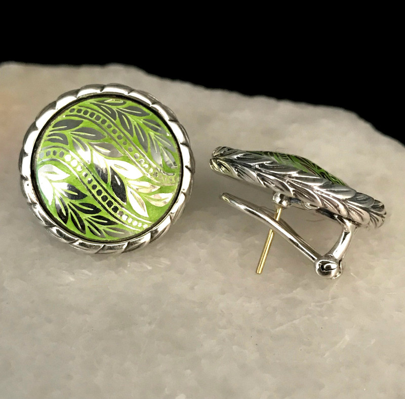 Handmade and engraved Sterling Silver and Peridot Enamel Earrings by Bowman Originals, Sarasota, 941-302-9594.