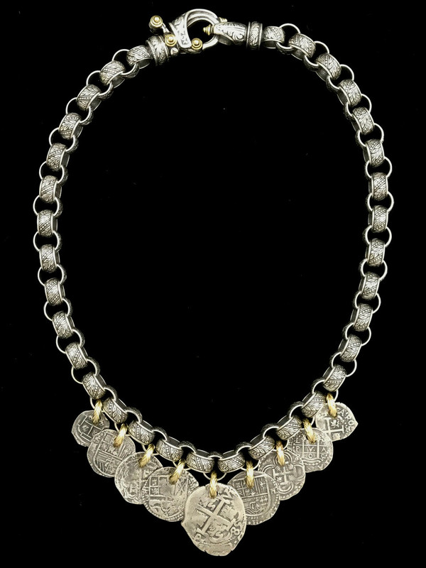 Sterling Silver and 18 k Gold link Medallion Necklace handmade by Bowman Originals, Sarasota, 941-302-9594.