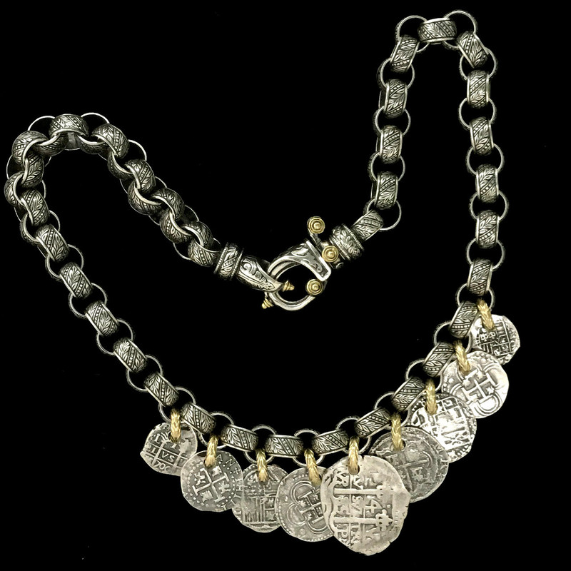 Sterling Silver Medallion link Necklace with 18 k Gold handmade by Bowman Originals, Sarasota, 941-302-9594.