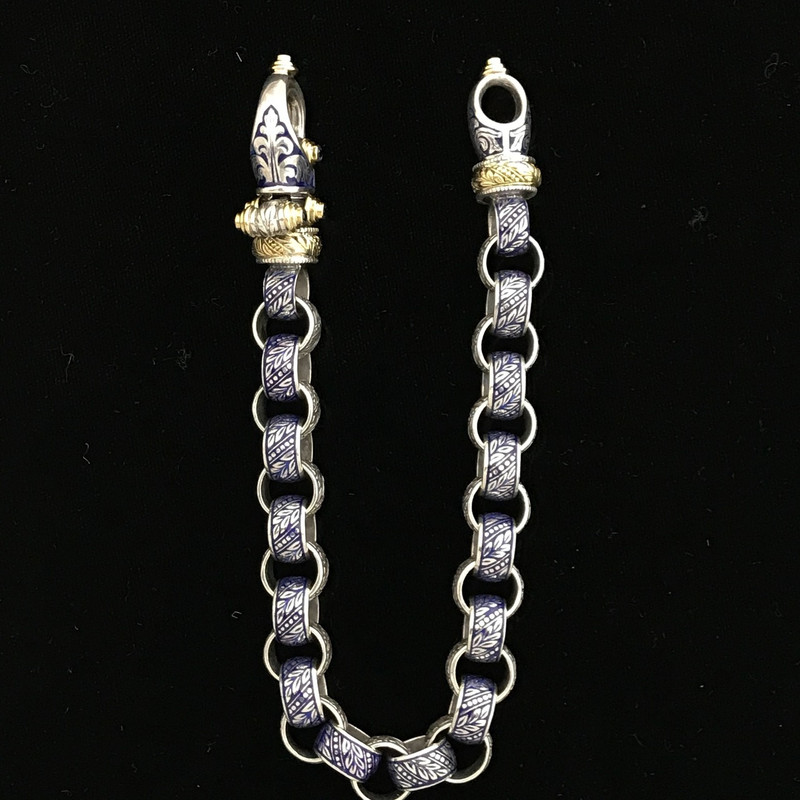 Handmade engraved and enameled Sterling Silver and 18 k Gold bracelet by Bowman Originals, Sarasota, 941-302-9594.
