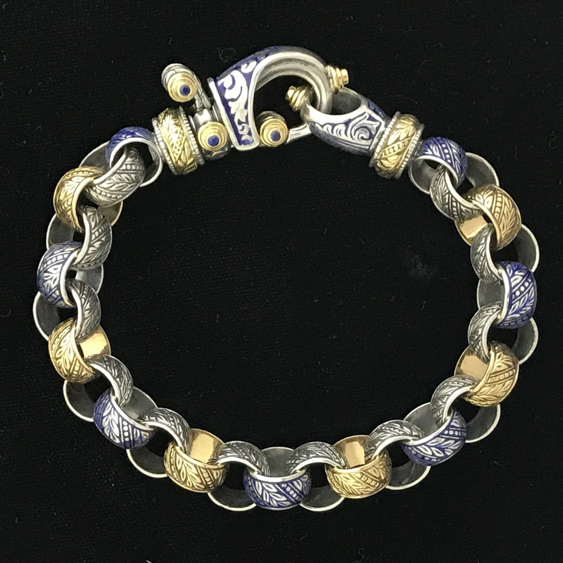 Engraved Sterling Silver, 18 k Gold, Enamel, Blue Sapphire handmade by Bowman Originals, Sarasota, 941-302-9594.