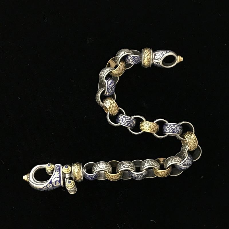 Enamel, Silver, Gold engraved Bracelet with Blue Sapphire by Bowman Originals, Sarasota, 941-302-9594.