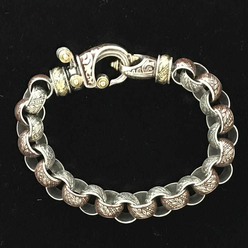 """Silver, Gold, Enamel """"Hook"""" Bracelet by Bowman Originals, Sarasota, 941-302-9594"""