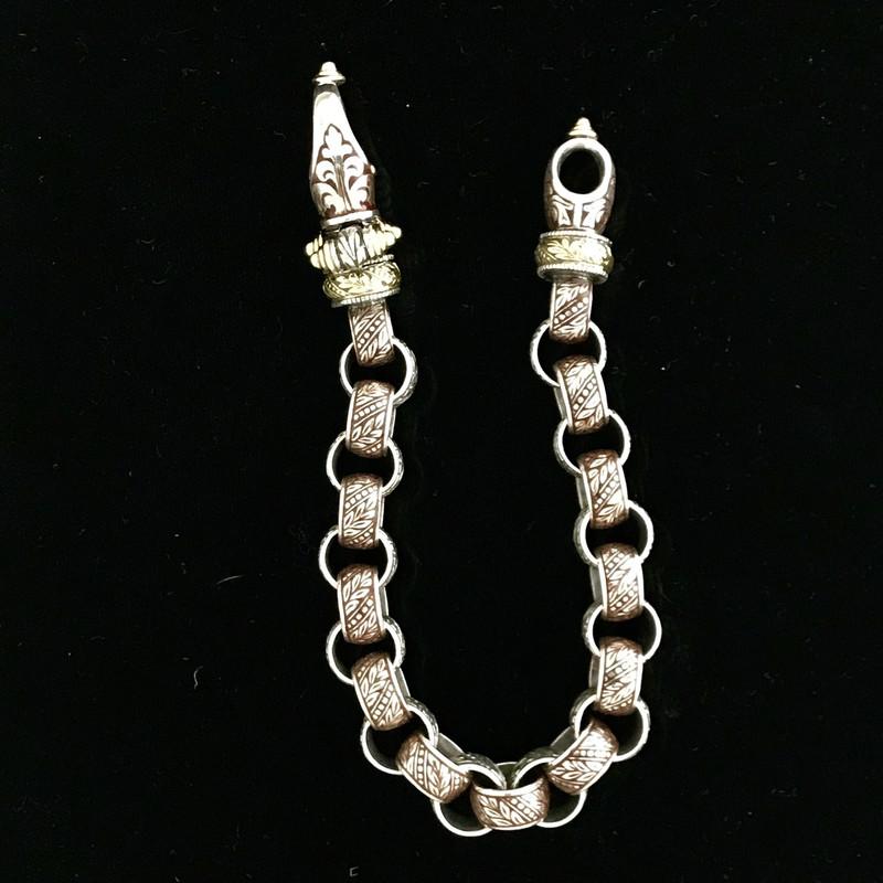 Silver, Gold, Enamel handmade Bracelet, Bowman Originals, Sarasota, 941-302-9594.