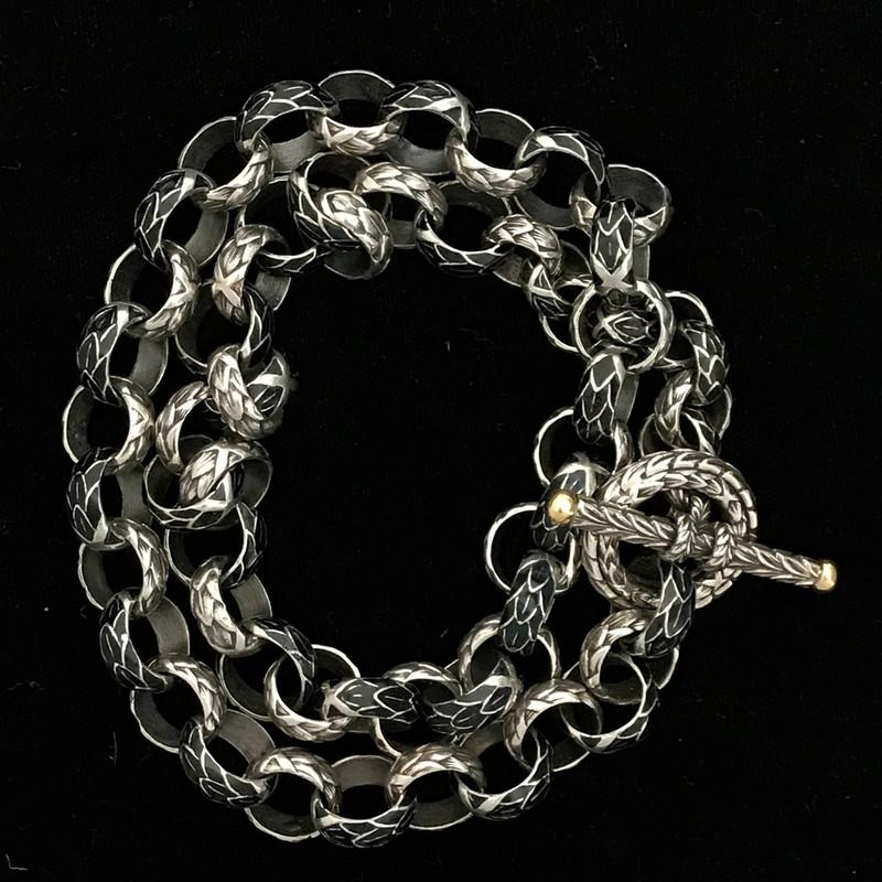 Sterling Silver, 18 K Gold, Enamel Toggle Bracelet by Bowman Originals, Sarasota, 941-302-9594.