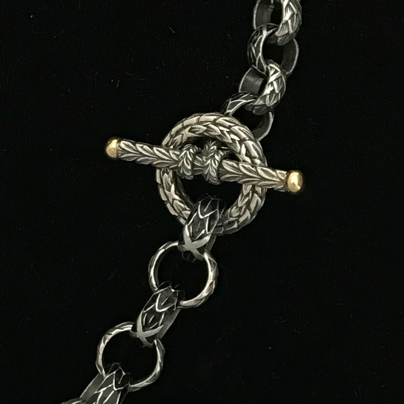 Silver, Gold, Enamel Toggle Necklace handmade by Bowman Originals, Sarasota, 941-302-9594.