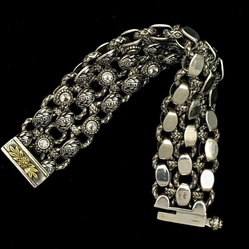 Bowman Originals handmade Bracelet, Silver , Gold, Enamel, White Topaz.