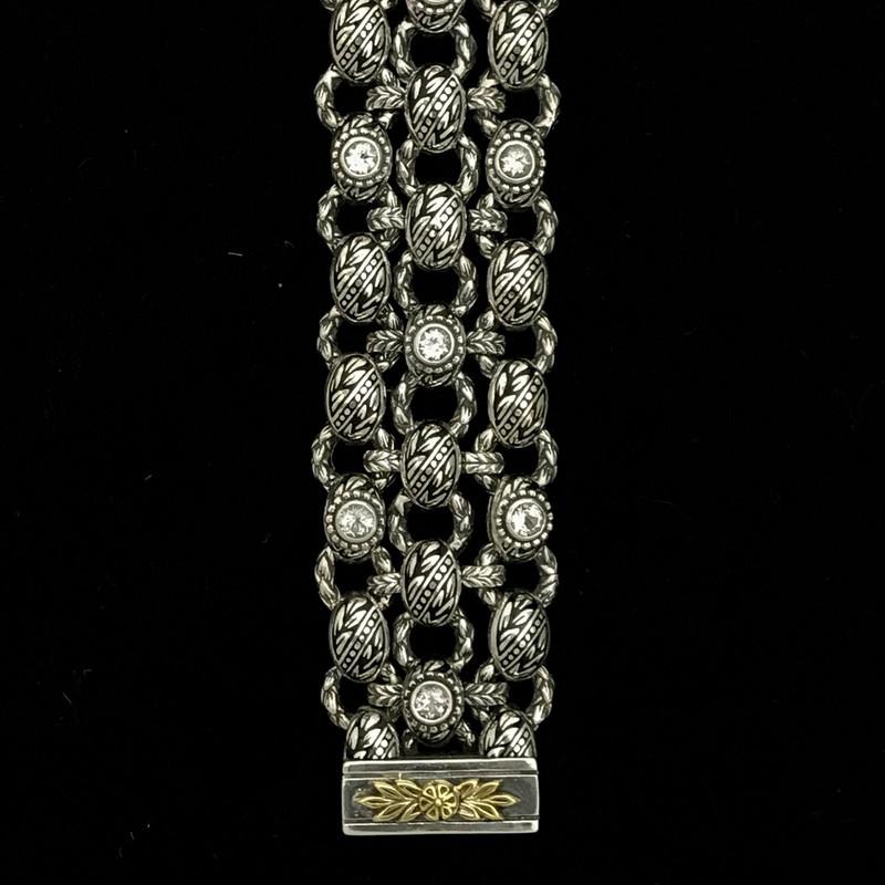 Bracelet handmade by Bowman  Originals, Silver, Gold, Enamel, White Topaz.