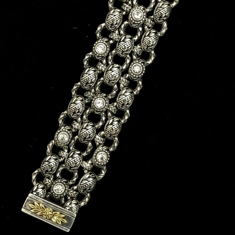 Enamel, White Topaz, Silver, Gold handmade Bracelet, Bowman Originals.