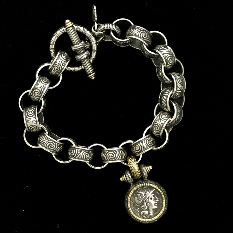 Athena Medallion Toggle Bracelet, Silver, Gold, handmade by Bowman Originals, Sarasota, 941-302-9594