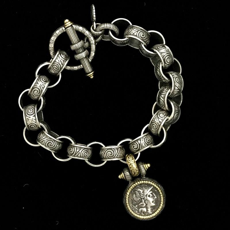 Athena Medallion Toggle Bracelet, Silver, Gold, handmade by Bowman Originals, Sarasota, 941-302-9594