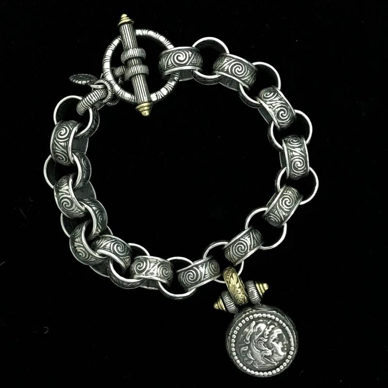 Alexander the Great Toggle Bracelet, Silver, Gold, engraved links by Bowman Originals, Sarasota, 941-302-9594