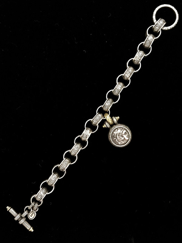 Engraved link toggle bracelet with Medallion handmade by Bowman Originals, Sarasota, 941-302-9594