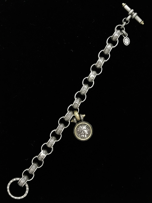 Toggle Bracelet with Engraved Links and Medallion handmade by Bowman Originals, Sarasota, 941-302-9594.