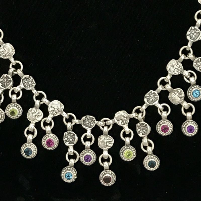 Bib Necklace with Gemstones handmade by Bowman Originals, SRQ, 941-302-9594