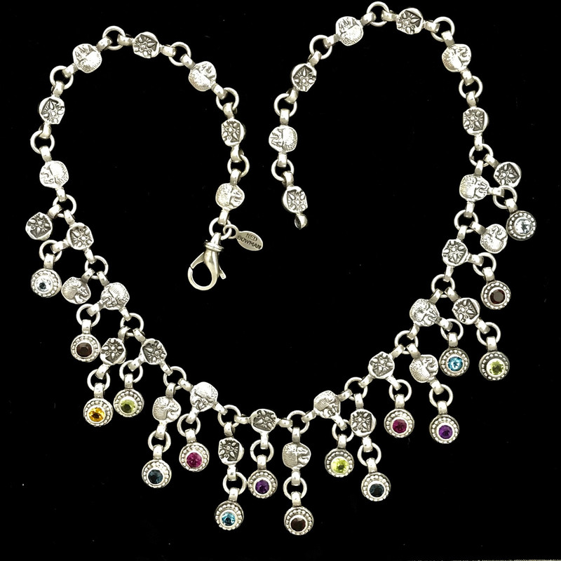 Handmade Silver Bib Necklace, Gemstones, Bowman Originals, SRQ, 941-302-9594