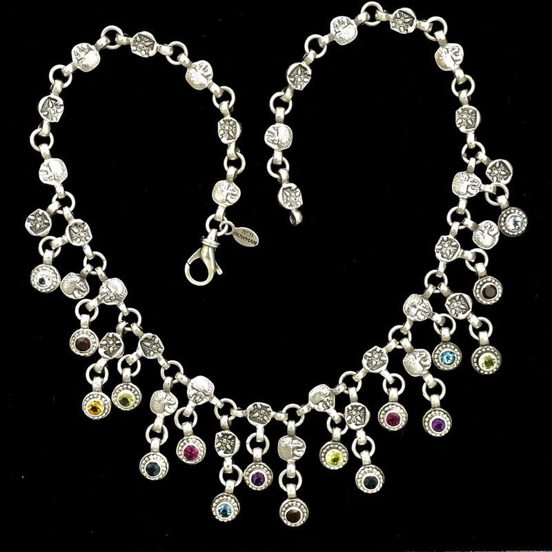 Handmade Silver Bib Necklace, Gemstones, Bowman Originals, SRQ, 941-302-9594