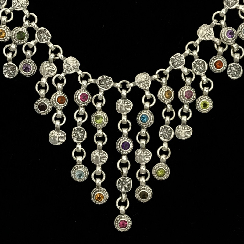 Large Bib Necklace, Sterling Silver, Multi Gemstone, Bowman Originals, Sarasota