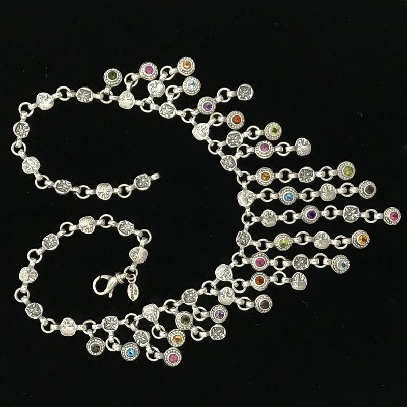 Multi Gemstone, Silver Necklace handmade, Bowman Originals, SRQ, 941-302-9594