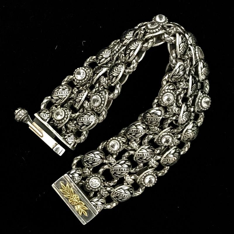Laurel Leaf Bracelet, Silver, Gold, White Topaz, Enamel
