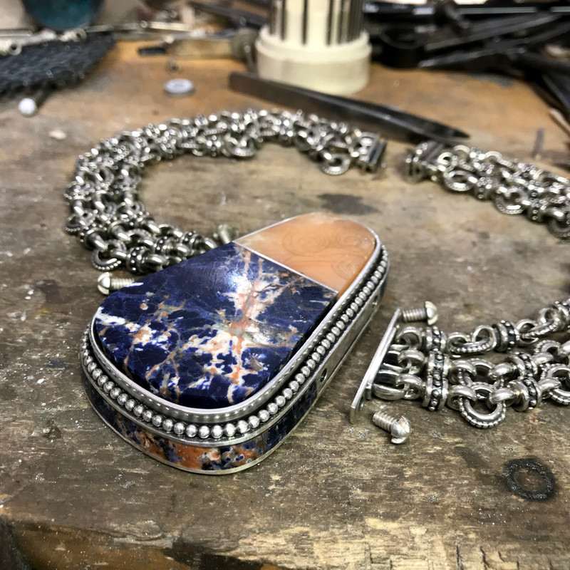 Assembling the Sodalite and Alabaster Necklace