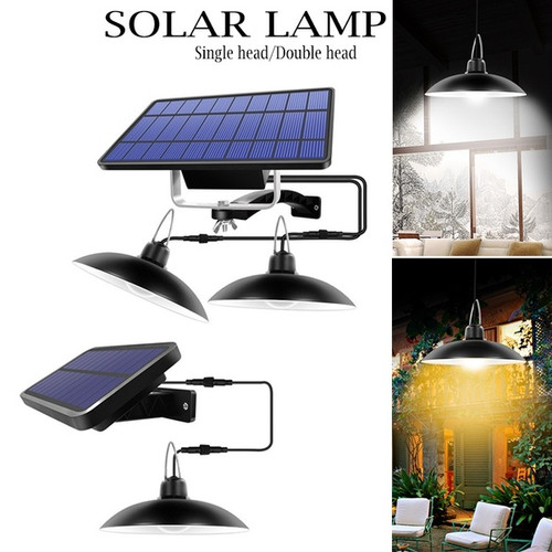 Double Head Solar Pendant Light