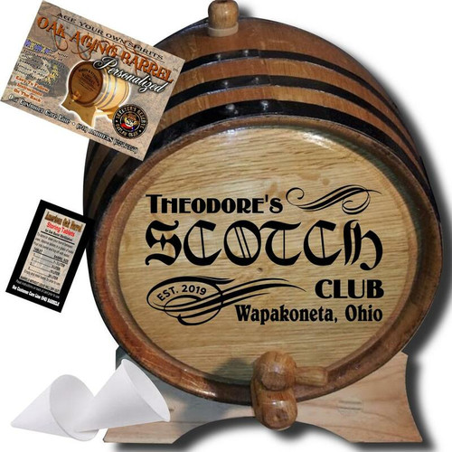 Personalized American Oak Scotch Aging Barrel (201) - Custom Engraved Barrel From Skeeter's Reserve Outlaw Gear™ - MADE BY American Oak Barrel™ - (Natural Oak, Black Hoops)