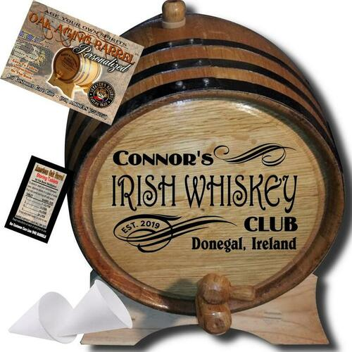 Personalized American Oak Irish Whiskey Aging Barrel (205) - Custom Engraved Barrel From Skeeter's Reserve Outlaw Gear™ - MADE BY American Oak Barrel™ - (Natural Oak, Black Hoops)