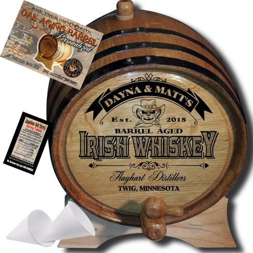 Personalized American Oak Irish Whiskey Aging Barrel (105) - Custom Engraved Barrel From Skeeter's Reserve Outlaw Gear™ - MADE BY American Oak Barrel™ - (Natural Oak, Black Hoops)