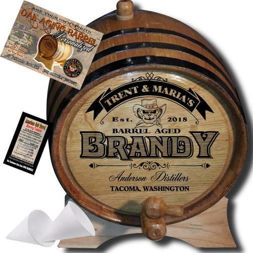 Personalized American Oak Brandy Aging Barrel (106) - Custom Engraved Barrel From Skeeter's Reserve Outlaw Gear™ - MADE BY American Oak Barrel™ - (Natural Oak, Black Hoops)