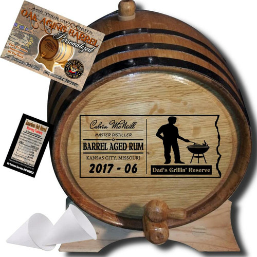 Dad's Grillin' Reserve (070) - Personalized Aging Barrel From Skeeter's Reserve Outlaw Gear™ - MADE BY American Oak Barrel™ - (Natural Oak, Black Hoops)