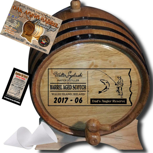 Dad's Angler Reserve (071) - Personalized Aging Barrel From Skeeter's Reserve Outlaw Gear™ - MADE BY American Oak Barrel™ - (Natural Oak, Black Hoops)
